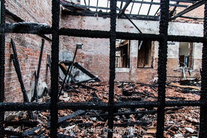 Burnt out room of Abandoned St Johns Orphanage in Goulburn. Image by Ruth Spitzer